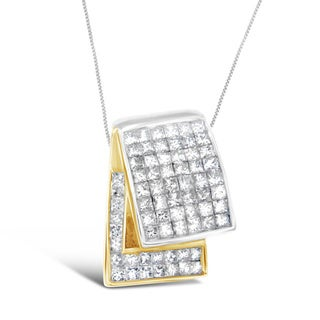 14k Two-tone Gold 2ct TDW Princess-cut Diamond Pendant (H-I, SI2-I1)