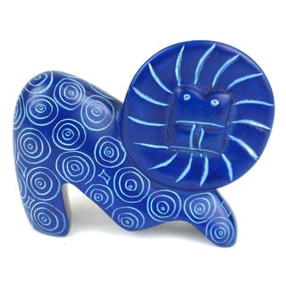 Handcrafted Mini Soapstone Funky Blue Lion Sculpture