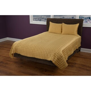 Rizzy Home Satinology Gold 3-piece Quilt Set