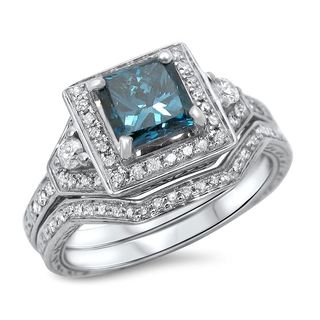 Noori 14k White Gold 1 1/10ct TDW Blue Princess-cut Diamond Bridal Ring Set