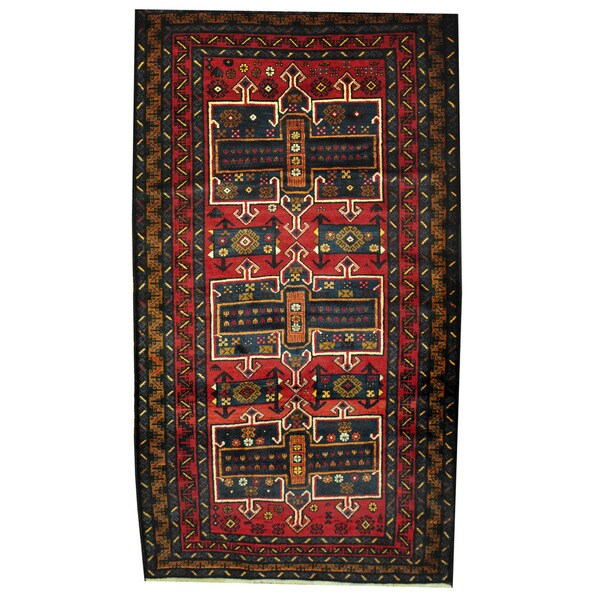 Herat Oriental Afghan Hand-knotted Tribal Balouchi Wool Rug (3'10 x 6'10) - 3'10 x 6'10