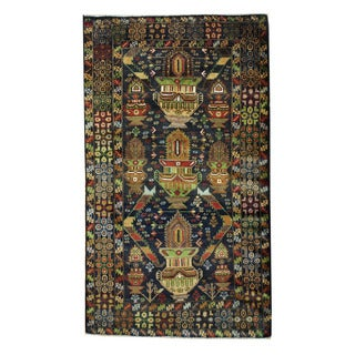 Herat Oriental Afghan Hand-knotted Tribal Balouchi Navy/ Brown Wool Rug (3'8 x 6'4)