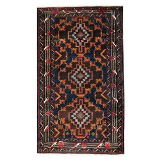Herat Oriental Afghan Hand-knotted Tribal Balouchi Wool Rug (3'8 x 6'3)