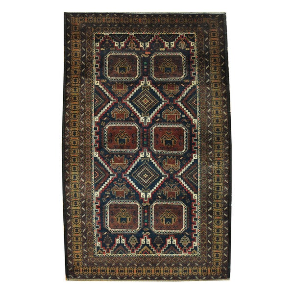 Herat Oriental Afghan Hand-knotted Tribal Balouchi Wool Rug (3'10 x 6'1) - 3'10 x 6'1