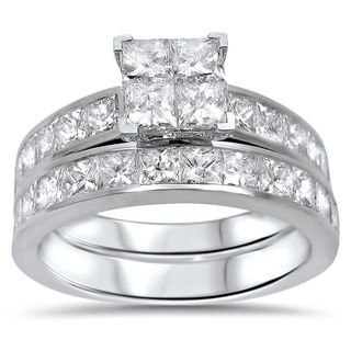 Noori 14k White Gold 2ct TDW Princess-cut Diamond Quad Bridal Ring Set (H-I, I1-I2)