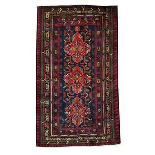 Herat Oriental Afghan Hand-knotted Tribal Balouchi Navy/ Red Wool Rug (3'7 x 6'1)
