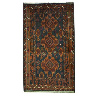 Herat Oriental Afghan Hand-knotted Tribal Balouchi Green/ Brown Wool Rug (3'7 x 6'2)