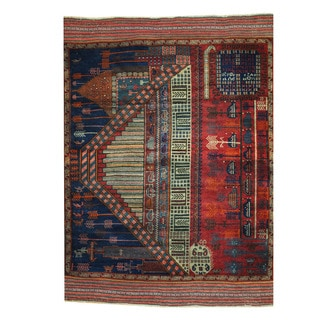 Herat Oriental Afghan Hand-knotted Tribal Balouchi Wool Rug (4'4 x 5'11)