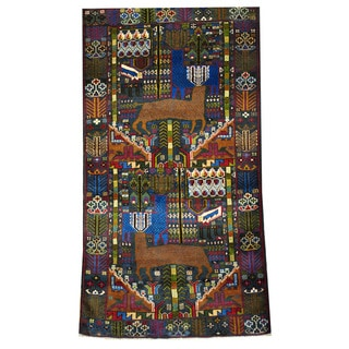 Herat Oriental Afghan Hand-knotted Tribal Balouchi Wool Rug (3'8 x 6'10)