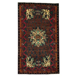 Herat Oriental Afghan Hand-knotted Tribal Balouchi Wool Rug (3'8 x 6'5)