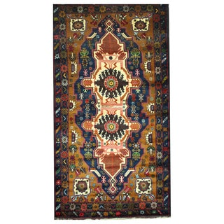 Herat Oriental Afghan Hand-knotted Tribal Balouchi Wool Rug (3'9 x 7')