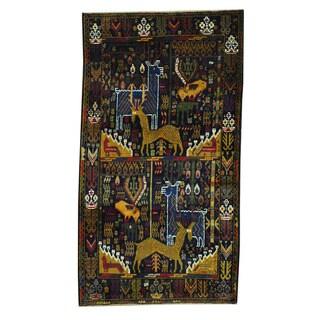 Herat Oriental Afghan Hand-knotted Tribal Balouchi Black/ Brown Wool Rug (3'6 x 6'5)
