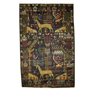 Herat Oriental Afghan Hand-knotted Tribal Balouchi Navy/ Olive Wool Rug (4'1 x 6'4)
