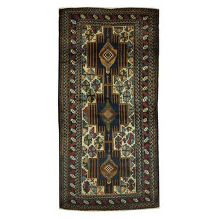 Herat Oriental Afghan Hand-knotted Tribal Balouchi Wool Rug (3'2 x 6'5)