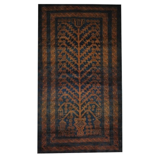 Herat Oriental Afghan Hand-knotted Tribal Balouchi Navy/ Brown Wool Rug (3'9 x 6'9)