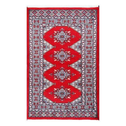 Handmade One-of-a-Kind Bokhara Wool Rug (Pakistan) - 2'8 x 4'