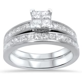 Noori 14k White Gold 1 2/5ct TDW Princess-cut Diamond Quad Bridal Ring Set