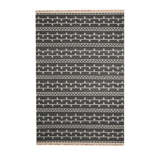 Herat Oriental Indo Hand-Woven Tribal Vegetable Dye Kilim Gray/ Ivory Wool Rug (5'6 x 8')