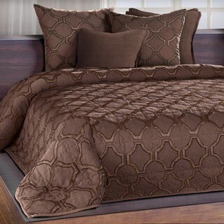 Chauran Francheschi Espresso Silk Applique Quilt with Embroidered Edge