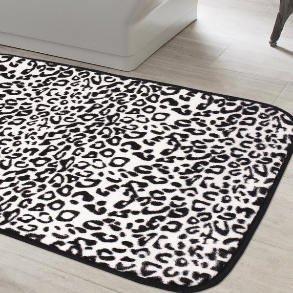 Can Bathroom Rugs Go In The Dryer: Shop Exotic Snow Leopard Print Quick Dry Memory Foam