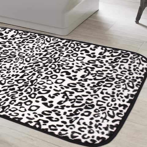 Exotic Snow Leopard Print Quick Dry Memory Foam Bathroom Rug 20 inches wide x 31.5 inches long