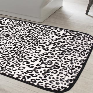 Exotic Snow Leopard Print Quick Dry Memory Foam Bathroom Rug 20 Inches Wide X 31 5