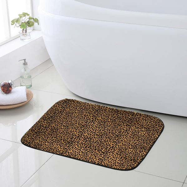 Can Bathroom Rugs Go In The Dryer: Shop Exotic Leopard Print Quick Dry Memory Foam Bathroom