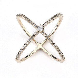 Neda Behnam Diamonds for a Cure 18k Rose Gold 2/5ct TDW Brown Diamond 'X' Criss Cross Ring