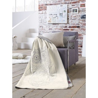 IBENA Sorrento Reversible Owl Soft Oversized throw
