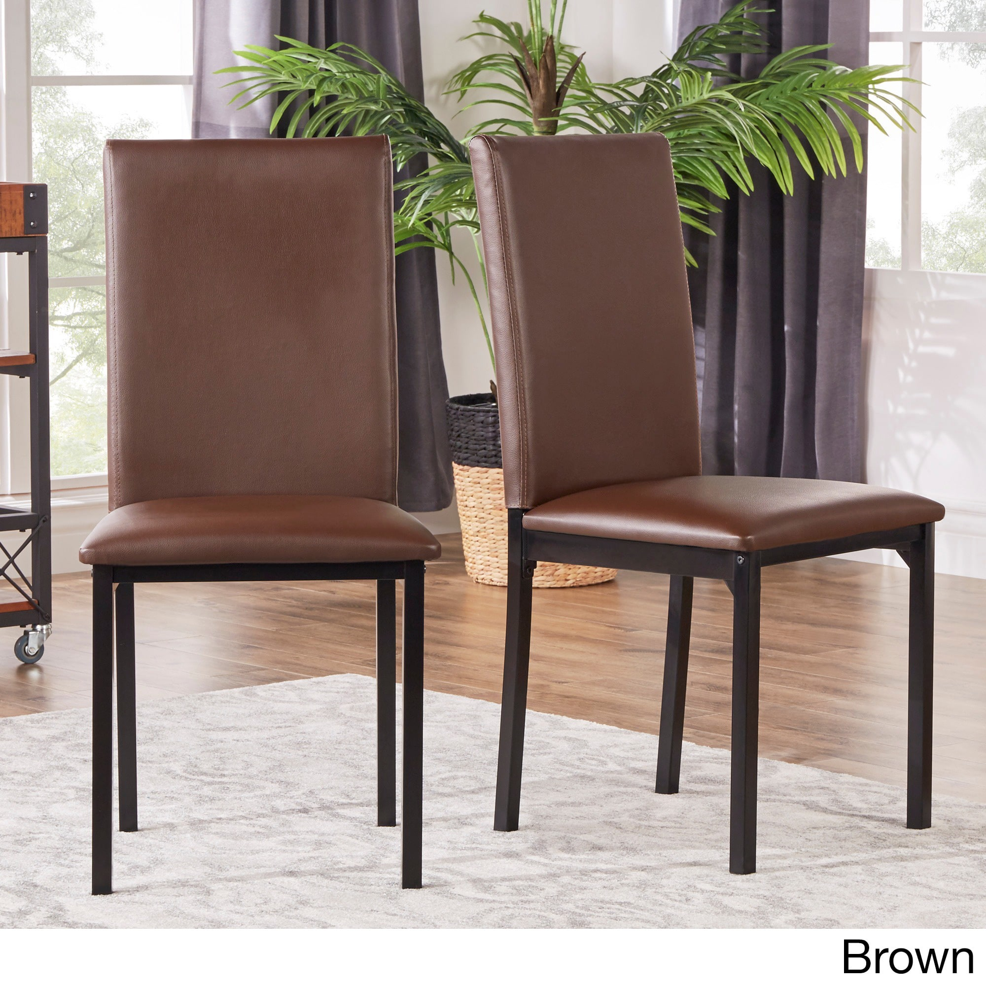 Darcy Espresso Metal Upholstered Dining Chair (Set of 2 ...