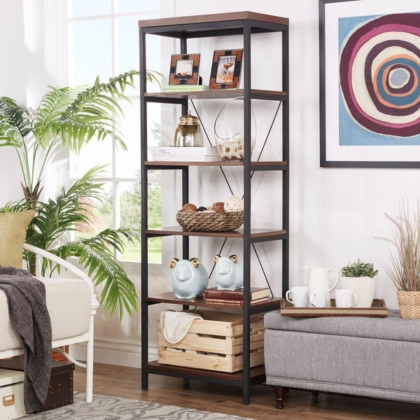 Somme rustic metal frame 6 tier bookshelf media tower by for Furniture of america nara contemporary 6 shelf tiered open bookcase