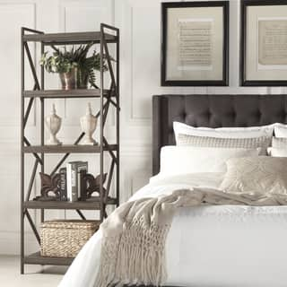 Lincoln Metal Distressed Brown Bookshelf Media Tower by iNSPIRE Q Classic|https://ak1.ostkcdn.com/images/products/10390619/P17494108.jpg?impolicy=medium