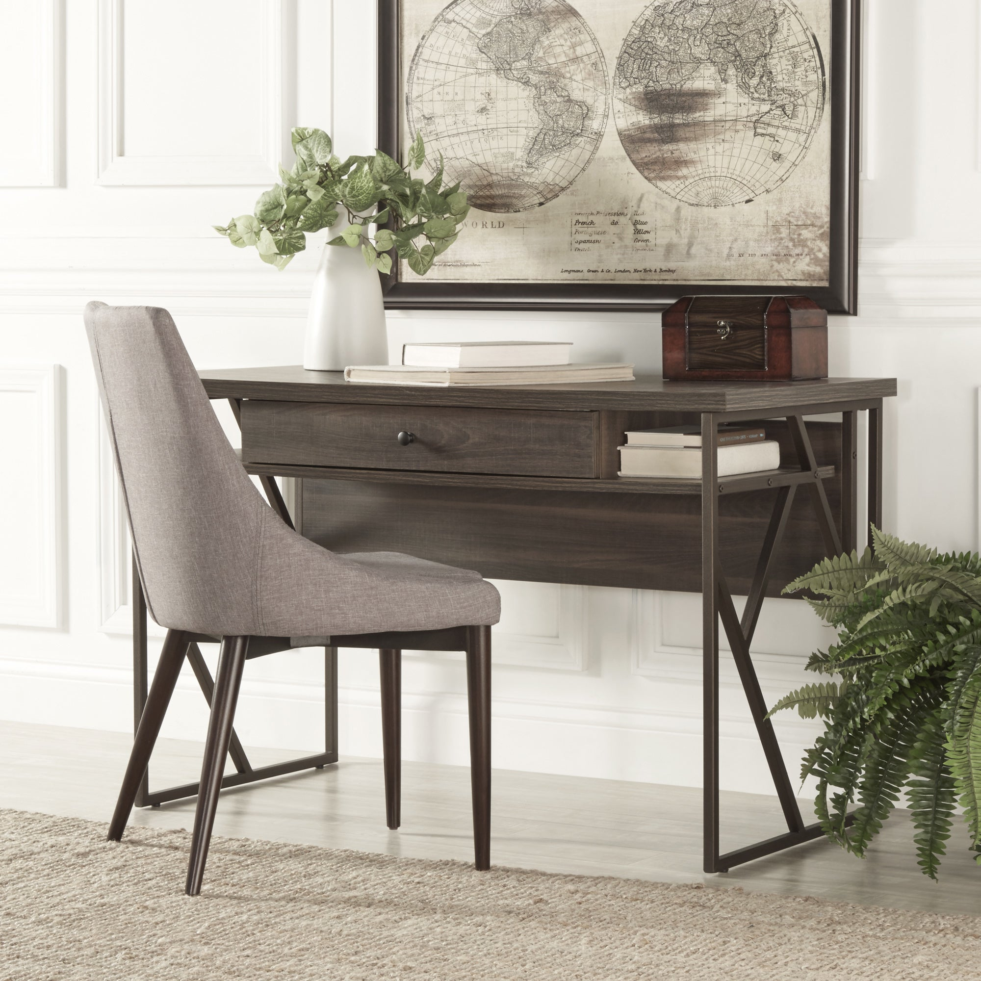 Lincoln Metal Distressed Storage Brown Writing Desk by iN...