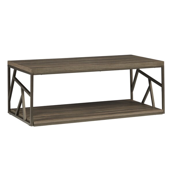 Lincoln Metal Contemporary Distressed Wood Coffee Table Or Side Table By  INSPIRE Q Classic   Free Shipping Today   Overstock.com   17494111