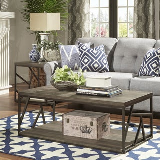 Lincoln Metal Contemporary Distressed Wood Coffee Table or Side Table