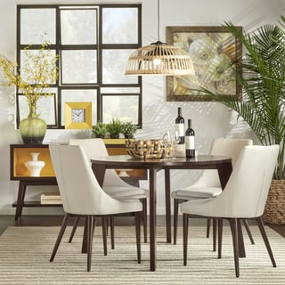 sasha brown angled leg round 5 piece dining set inspire q modern - Round Dining Room Chairs