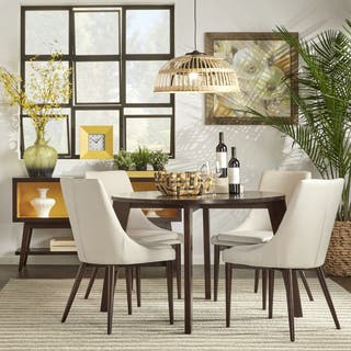 Sasha Brown Angled Leg Round 5 piece Dining Set iNSPIRE Q Modern. Contemporary Dining Room Sets For Less   Overstock com