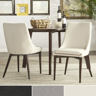 Sasha Mid-Century Brown Barrel Back Dining Chair by iNSPIRE Q Modern (Set of 2)