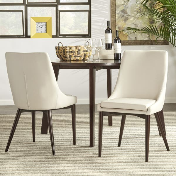 Sasha Mid Century Barrel Back Dining Chairs In White Linen Set Of 2 By Inspire Q Modern As Is Item Overstock 24256253