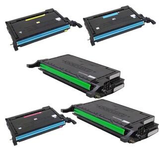Samsung 2 x CLT-K660A + CLT-Y660A CLT-C660A CLT-M660A Compatible Toner Cartridge For CLX-6200FX CLX-6210FX (Pack of 5)