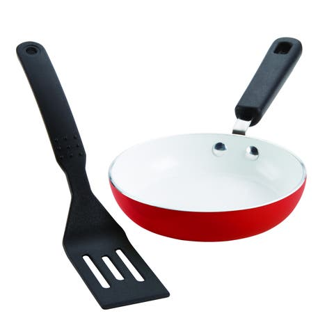 SilverStone Ceramic Nonstick Cookware Mini Skillet and Turner Set