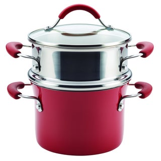 Rachael Ray Cucina Hard Enamel Nonstick 3-quart Covered Multi-pot Set with Steamer (Option: Red)