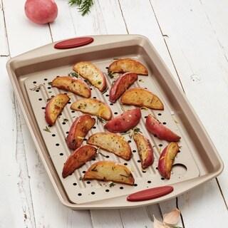 Rachael Ray Cucina Nonstick Bakeware 2-piece Latte Brown with Cranberry Red Handled Grip Crisper Pan Set