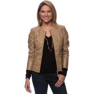Zip Front and Pockets Jacket with Embossing