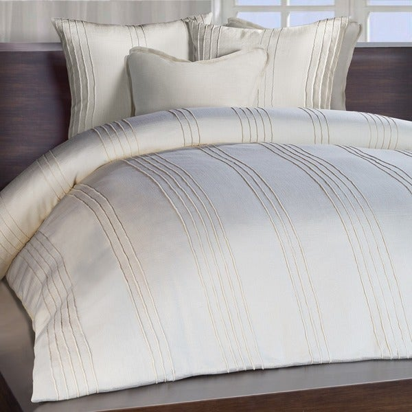 Chauran Avalon Ivory Ridge Stitched Duvet Cover