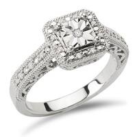 Sterling Silver 1/10ct Diamond Square Halo Ring by Avanti