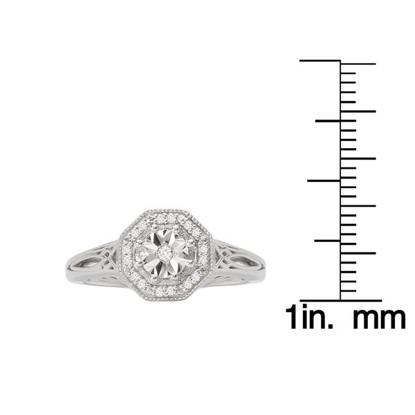 Sterling Silver with 14k 1 and 10ct Diamond Vintage Ring
