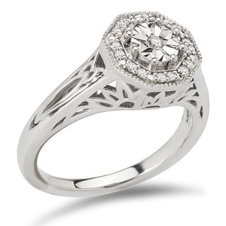 Avanti Sterling Silver 1/10ct TDW Octogonal Halo Vintage Diamond Engagement Ring
