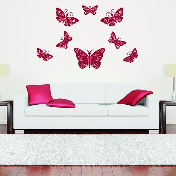 Shop Floral Butterflies Animal Vinyl Wall Art - On Sale - Free ...