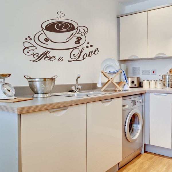 Coffee Love Kitchen Vinyl Wall Art - Free Shipping Today - Overstock ...
